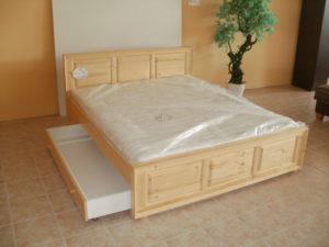 Peremes oldaltfiókos keményfakeretes ágy