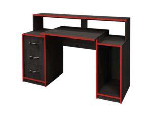 Gamer asztal (piros élfóliával)